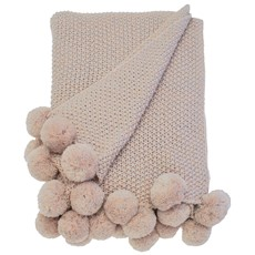 Cosy Knit Pom Pom Throw - Blush