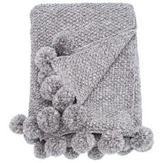 Cosy Knit Pom Pom Throw - Grey