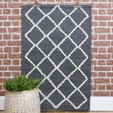Alhambra Handwoven Diamond Rug - Grey & White