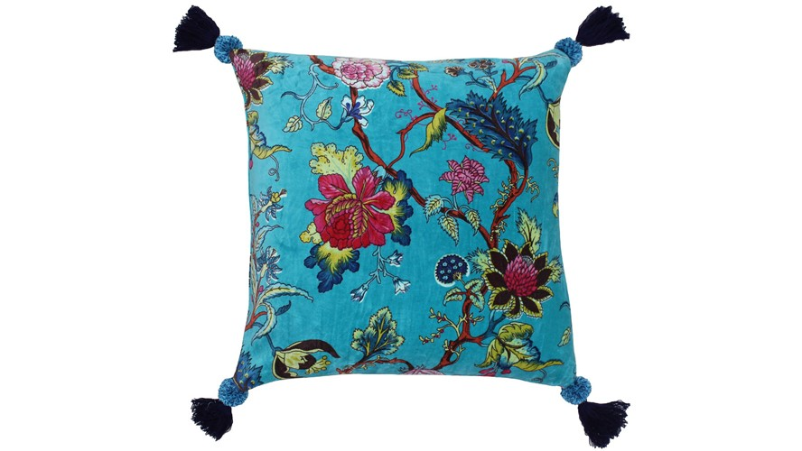 Tree Of Life Square Cushion - Kingfisher Blue