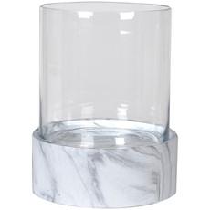 Hurricane Vase With Marble Effect Base