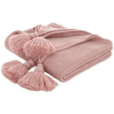 Bianca Tassle Knit Throw - Blush