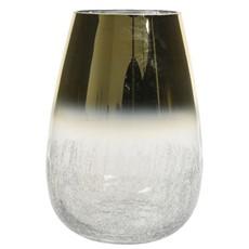 Hurricane Vase - Gold & Crackle Bottom