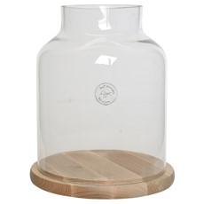 Glass Cloche & Birchwood Plate