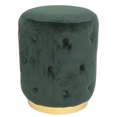 Green Quilted Velvet Stool 36x47cm