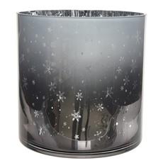 Silver Snowflake Hurricane Glass Tea Light Holder