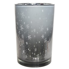Tall Silver Snowflake Hurricane Glass Tea Light Holder