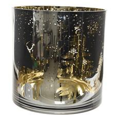 Gold Raindeer Hurricane Glass Tea Light Holder