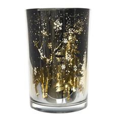 Tall Gold Raindeer Hurricane Glass Tea Light Holder