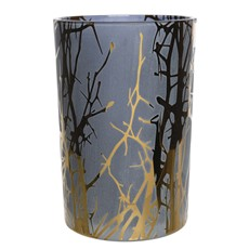 Tall Blue Hurricane Glass Tea Light Holder