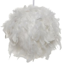 Hanging Feather Ball - White