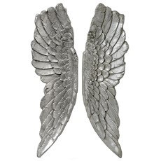 Antique Angel Wings Wall Art - Silver