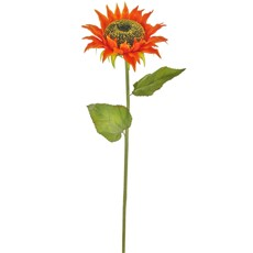 Silk Single Sunflower Stem - Orange