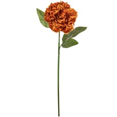 Silk Open Ball Peony Stem - Burnt Orange