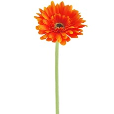 Silk Small Head Gerbera Stem - Orange