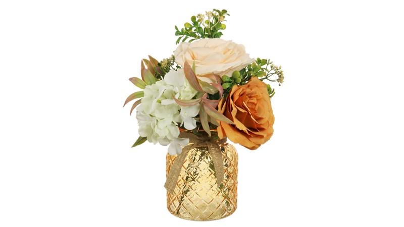 Orange & Cream Arranged Flowers in Lattice Vase
