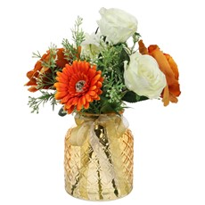 Orange & Cream Arranged Roses in Lattice Vase