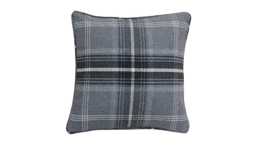 Aviemore Check Feather Filled Cushion - Grey