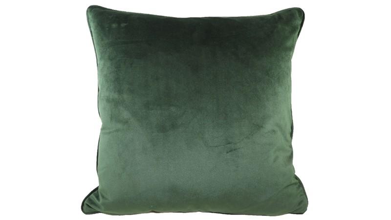 Piped Royal Velvet Square Cushion - Dark Green