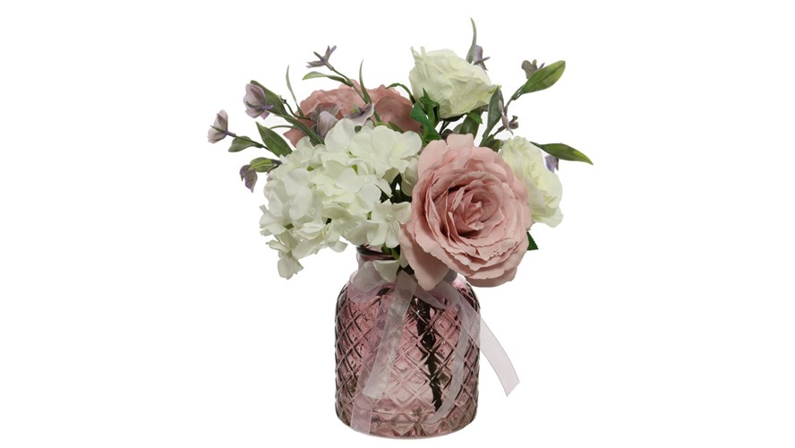 Pink & Cream Roses Arranged Flowers in Lattice Vase