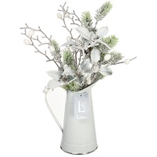 White & Green Arranged Flowers in Christmas Cones Jug