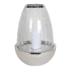 Large Crackled Round Glass & Silver Pillar Holder
