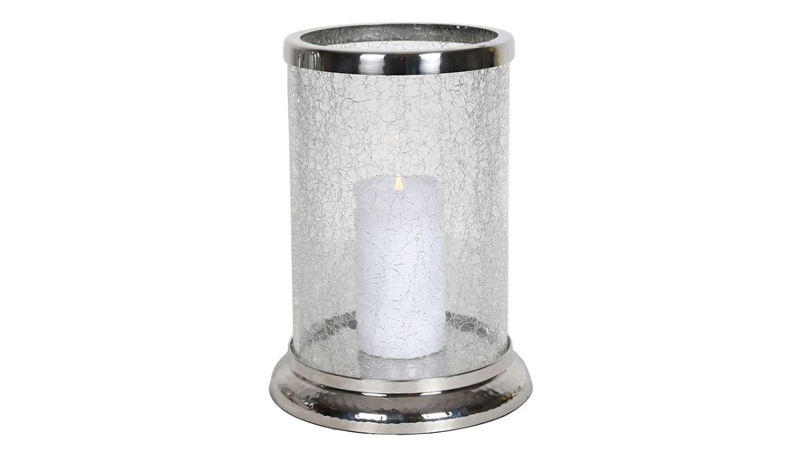 Crackled Round Glass & Silver Pillar Holder