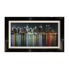 Rainbow Manhattan Liquid Framed Print