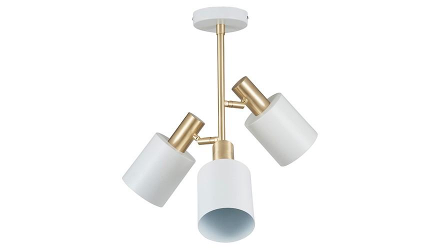 Electrified 3 Light Pendant - White & Brass