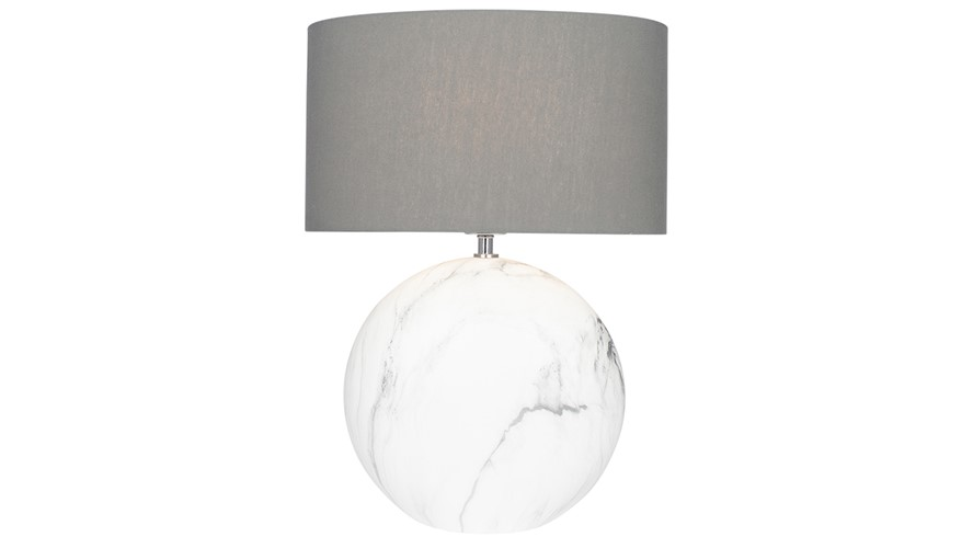 Marble Effect Disc Table Lamp - Large