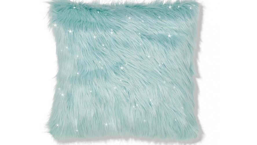 Catherine Lansfield Metallic Fur Cushion - Duckegg