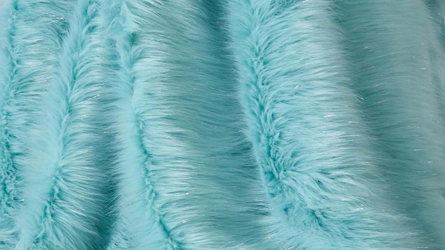 Catherine Lansfield Metallic Fur Throw - Duckegg