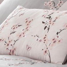 Catherine Lansfield Embroidered Blossom Cushion - Pink