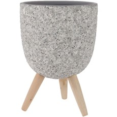 Stone Planter On Wooden Stand