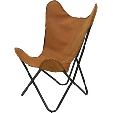 Leather Butterfly Chair - Camel