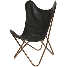 Leather Butterfly Chair - Black