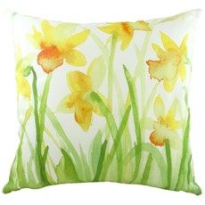 Watercolour Daffodils Square Cushion