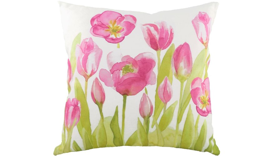 Watercolour Tulips Square Cushion