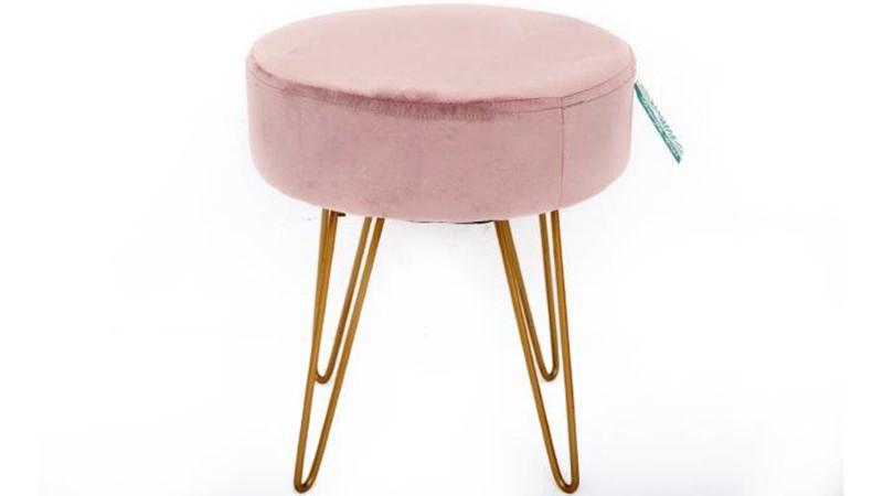 Velvet Stool - Pink