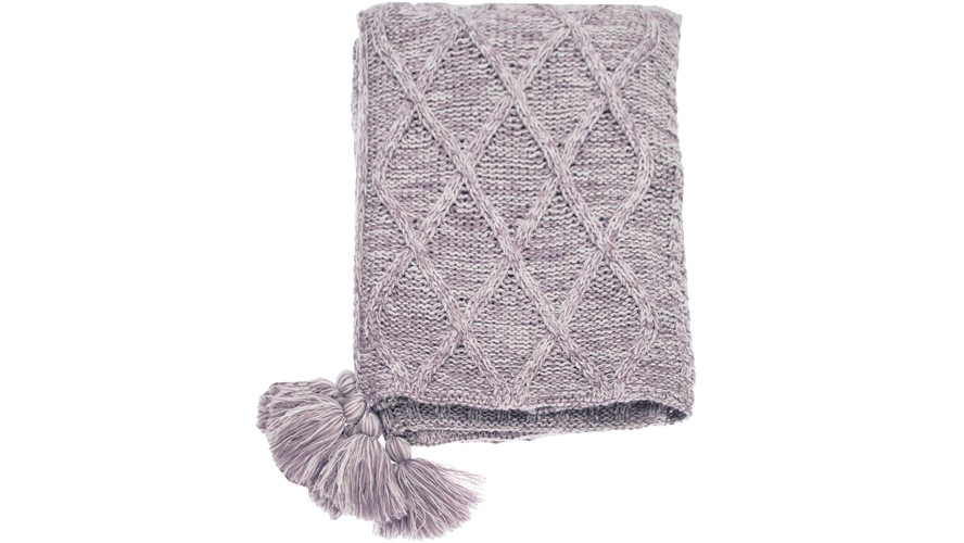 Patchwork Knit Throw - Lavender