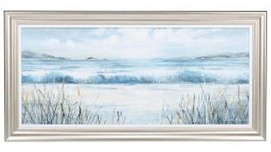 Waves And Grasses Framed Print