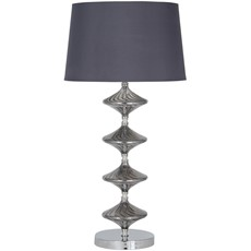 Glass Table Lamp - Metal & Grey