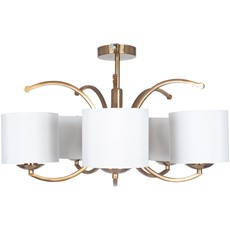5 Arm Semi Flush Brass Pendant Light Shade