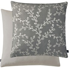 Leaf Print Square Cushion - Grey