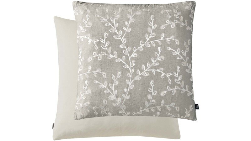 Leaf Print Square Cushion - Natural