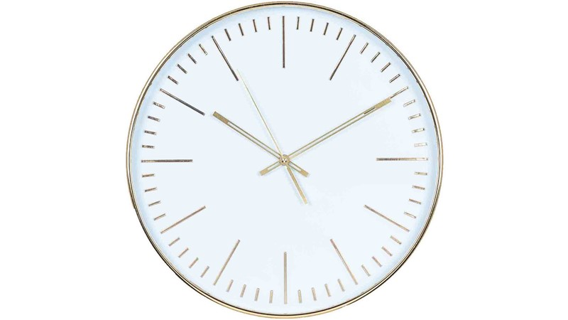 Round Wall Clock - Gold & White