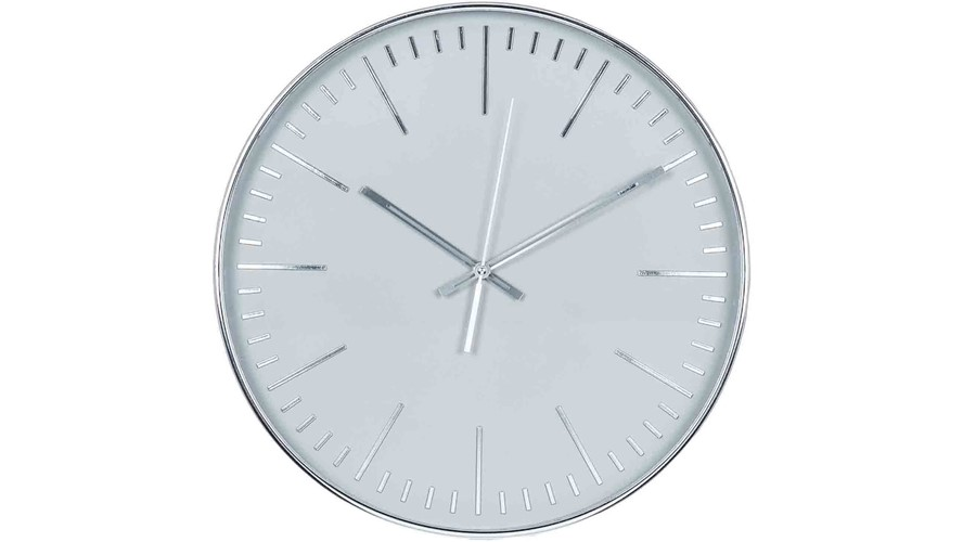 Round Wall Clock - Silver & Grey