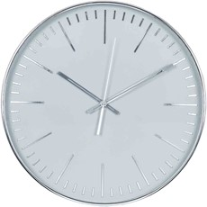 Round Wall Clock - Silver & Grey
