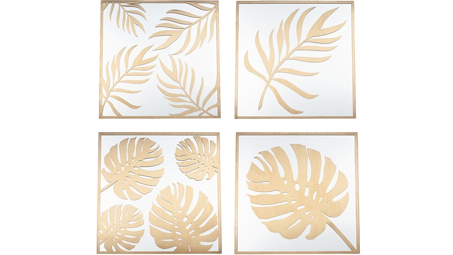 Wall Art Leaf Design - Gold & Glass