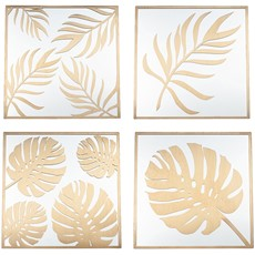 Wall Art Leaf Design - Gold & Glass